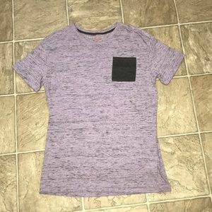 purple shirt with other colors in it